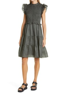 Sea Zigzag Lace Trim Dress