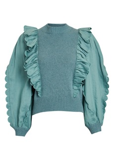 Sea Shannon Ruffled Poplin-Trimmed Sweater