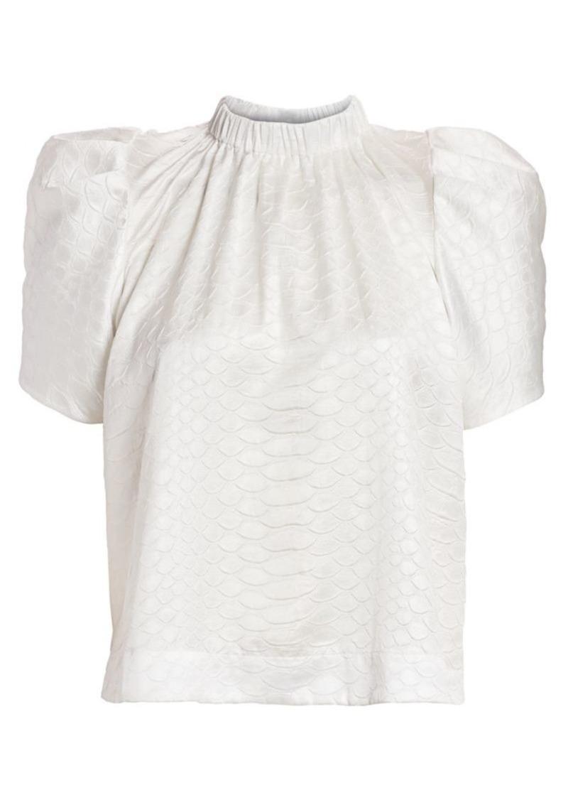 Sea Simone Embossed Puff-Sleeve Top