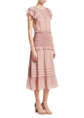 Sea Tiered Ruffle Midi Dress
