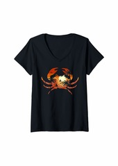 Sea Womens Beach Palm Tree Yacht and Summer Sunset - Crab V-Neck T-Shirt