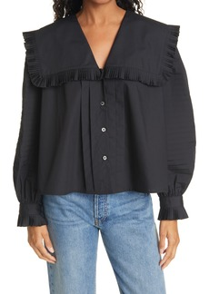 Women's Sea Pleated Button-Up Blouse
