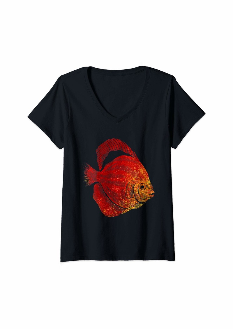 Sea Womens Tropic Animal Gift Idea Exotic Fish V-Neck T-Shirt