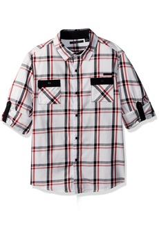 Sean John Big Boys' Harringbone Plaid Long Sleeve Woven Shirt Multi XL