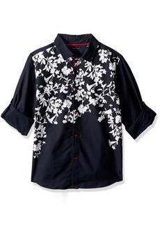 Sean John Big Boys' Printed Twill Long Sleeve Woven Shirt  M