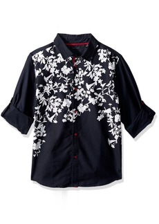 Sean John Boys' Big Printed Twill Long Sleeve Woven Shirt  XL