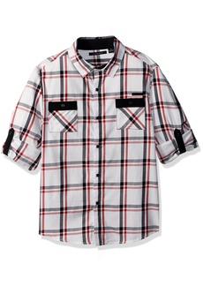 Sean John Boys' Big Harringbone Plaid Long Sleeve Woven Shirt Multi S