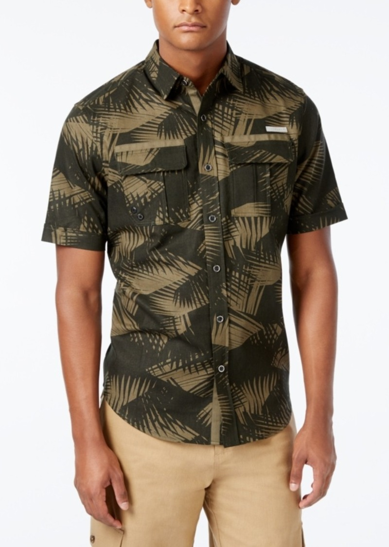 Sean John Men's Big & Tall Lightweight Linen Palm-Print Short-Sleeve Shirt
