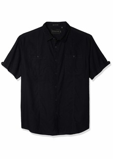 Sean John Men's Short Sleeve Linen Shirt pm Black S
