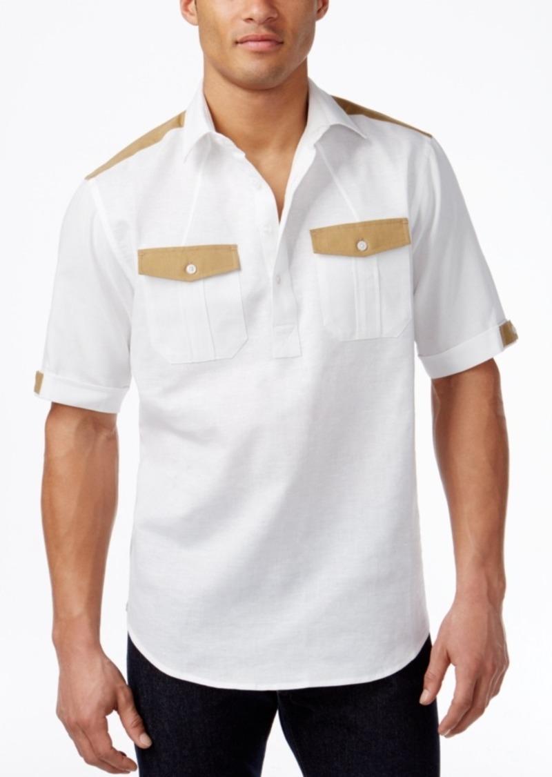 Sean John Men's Big & Tall Textureblocked Short-Sleeve Popover Shirt