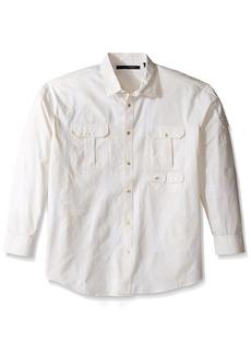Sean John Men's Big and Tall Long Sleeve Flight Linen Shirt SJ Cream 4XL