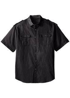Sean John Men's Big and Tall S/s Solid Linen Shirt PM Black 3X
