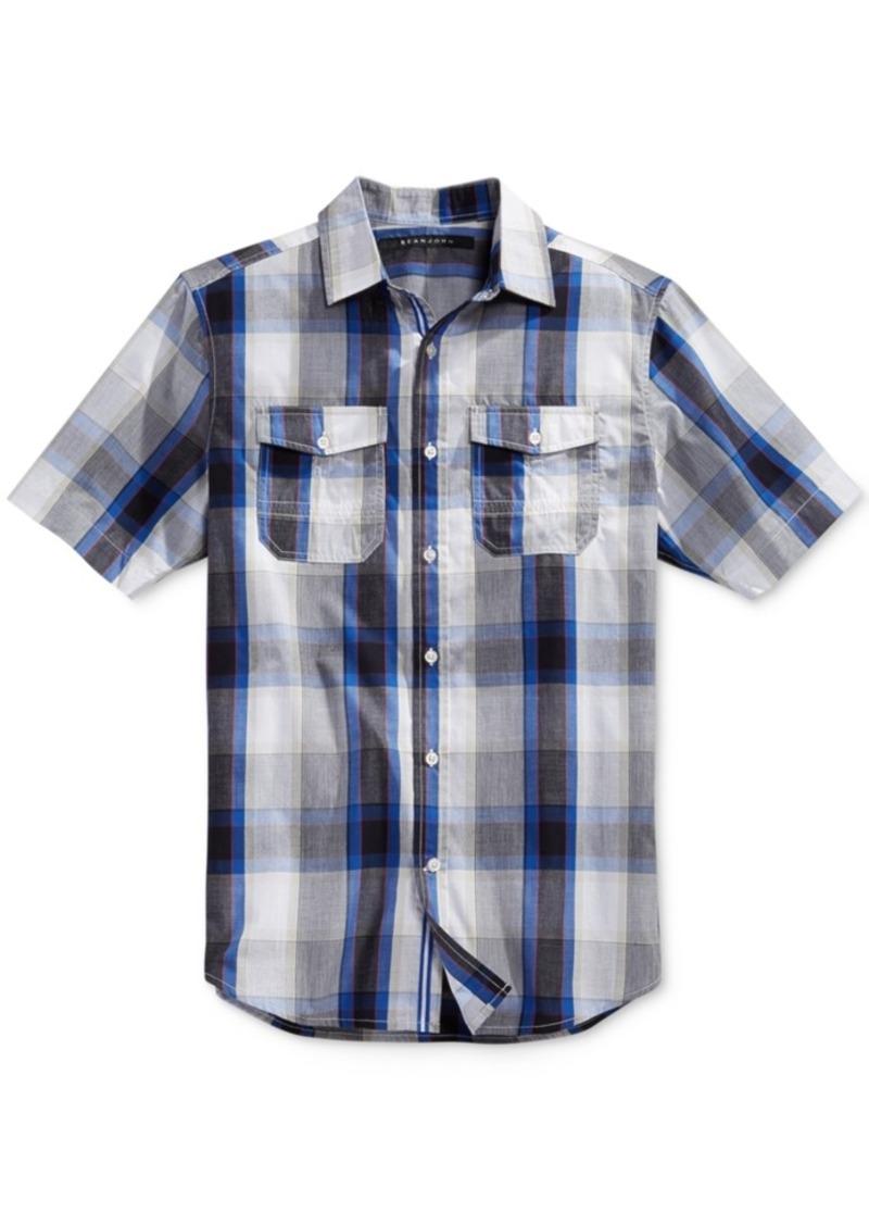Sean John Men's Big & Tall Plaid Short-Sleeve Shirt