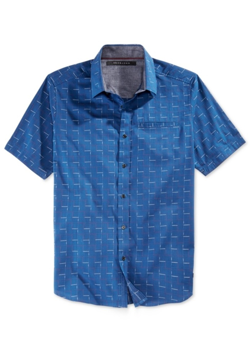 Sean John Men's Box Check Short-Sleeve Shirt