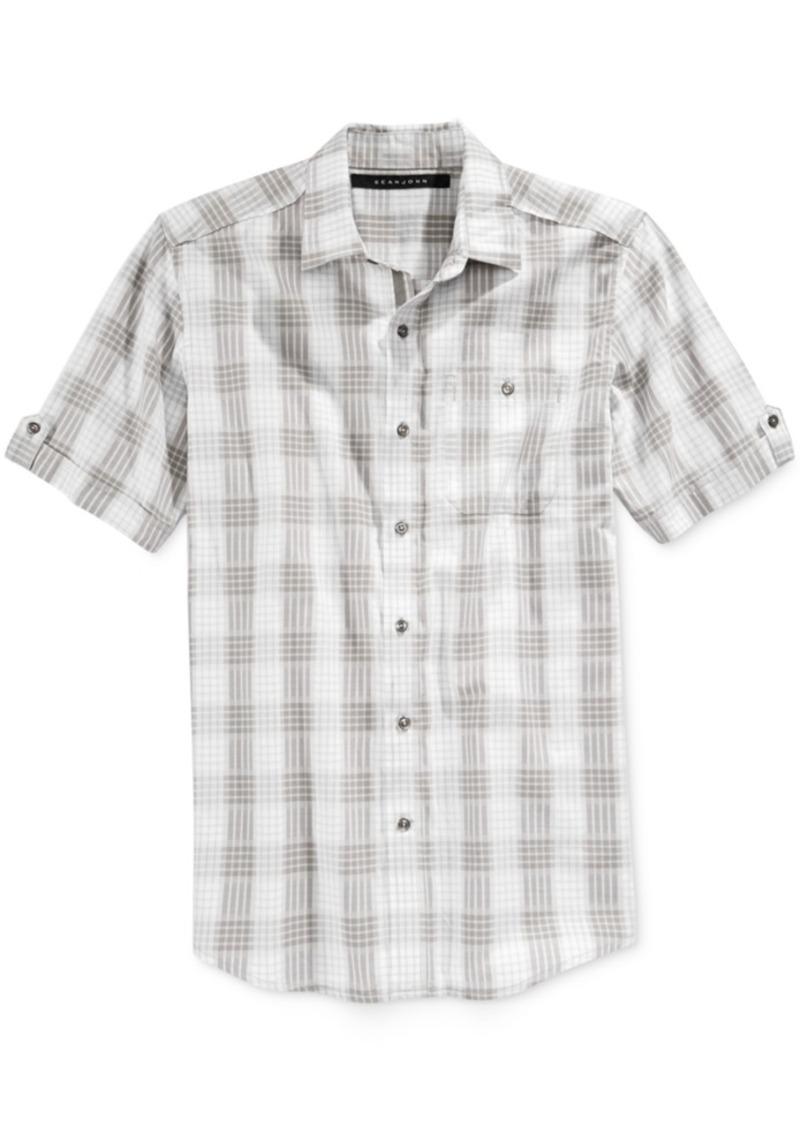 Sean John Men's Checked Short-Sleeve Shirt