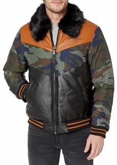 Sean John Mens Chevron Quilted Bomber Jacket Camo Print MD