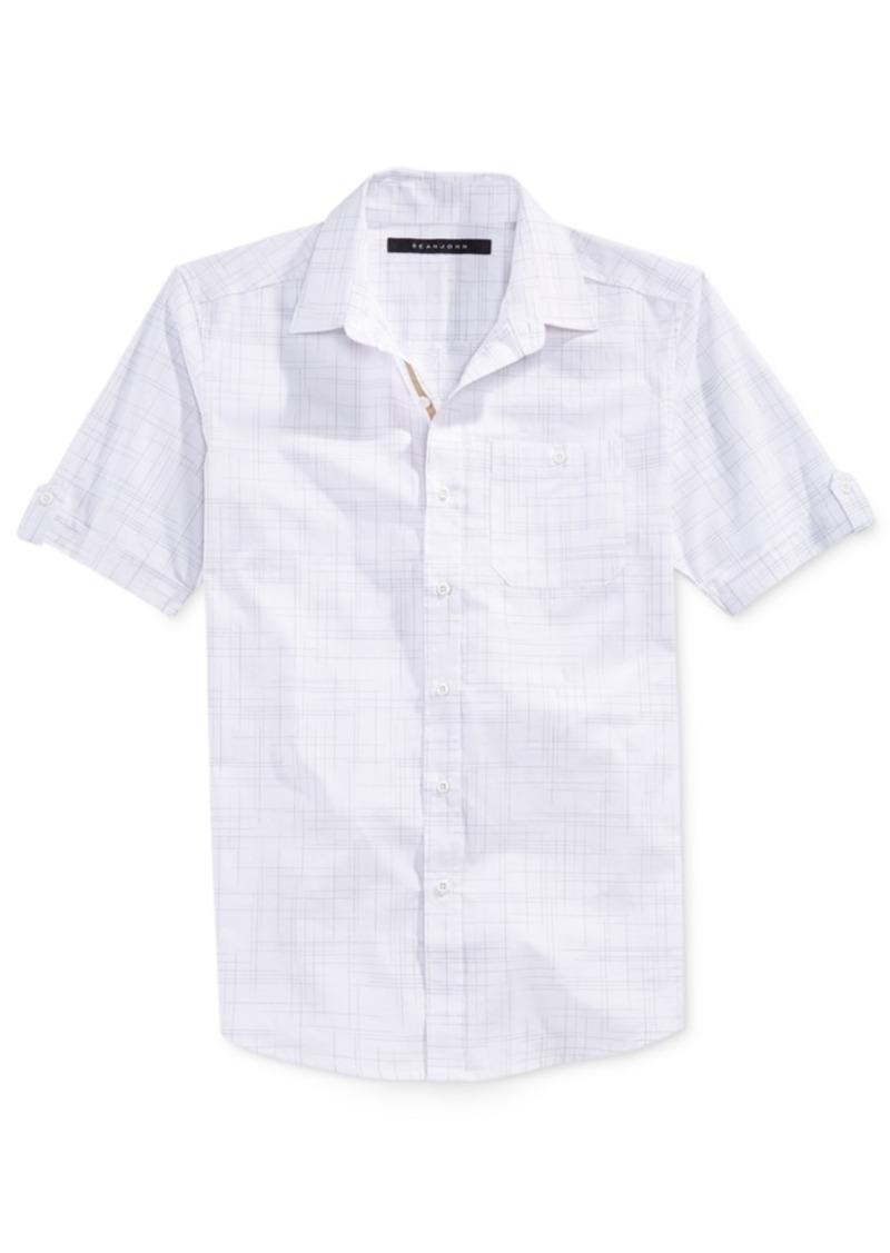 Sean John Men's Chisel Checked Short-Sleeve Shirt