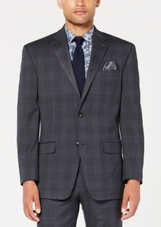 Sean John Men's Classic-Fit Stretch Gray/Blue Plaid Suit Jacket