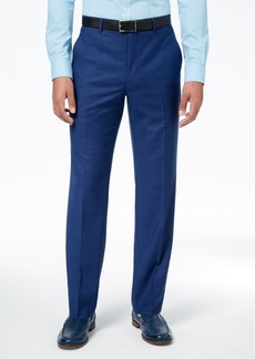 Sean John Men's Classic-Fit Stretch Solid Blue Textured-Grid Suit Pants