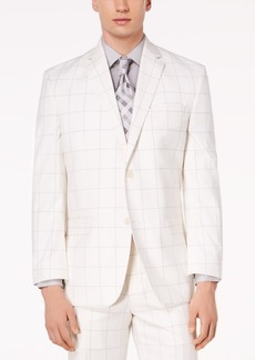 Closeout! Sean John Men's Classic-Fit Stretch White/Gray Windowpane Suit Jacket