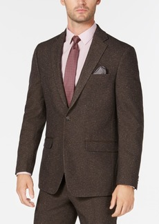 Sean John Men's Slim-Fit Stretch Brown Herringbone Suit Jacket