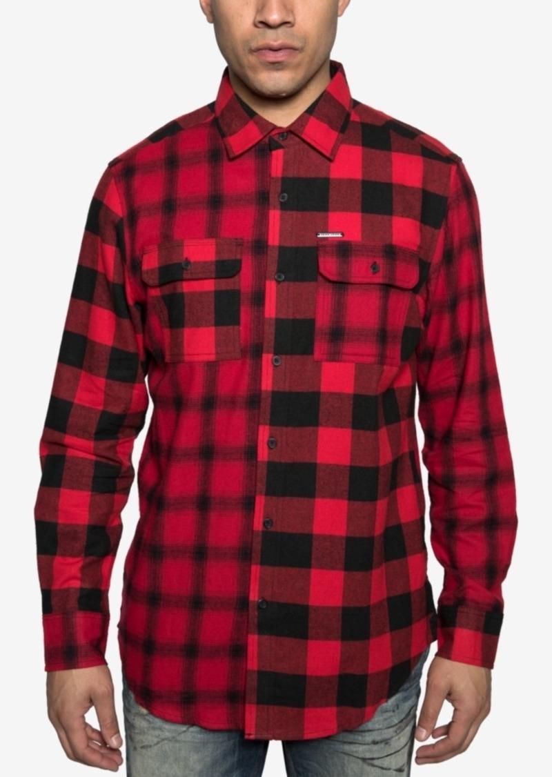 Sean John Mens Colorblocked Plaid Shirt