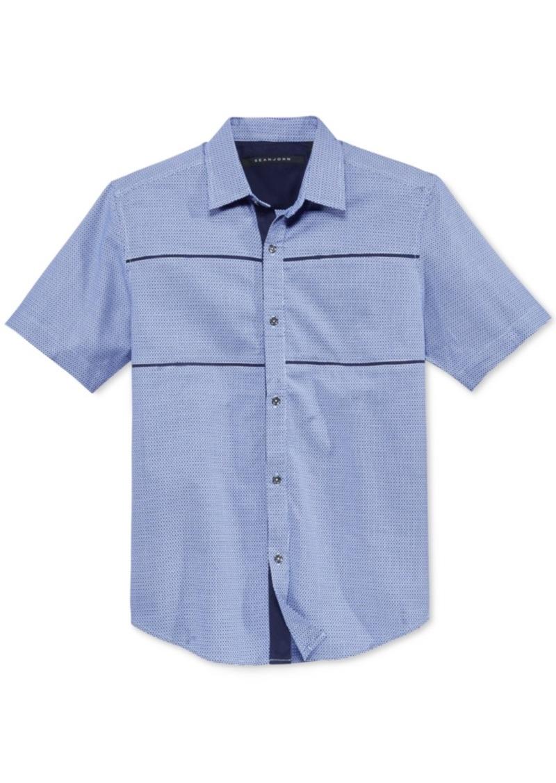 Sean John Men's Dobby Tile Short-Sleeve Shirt