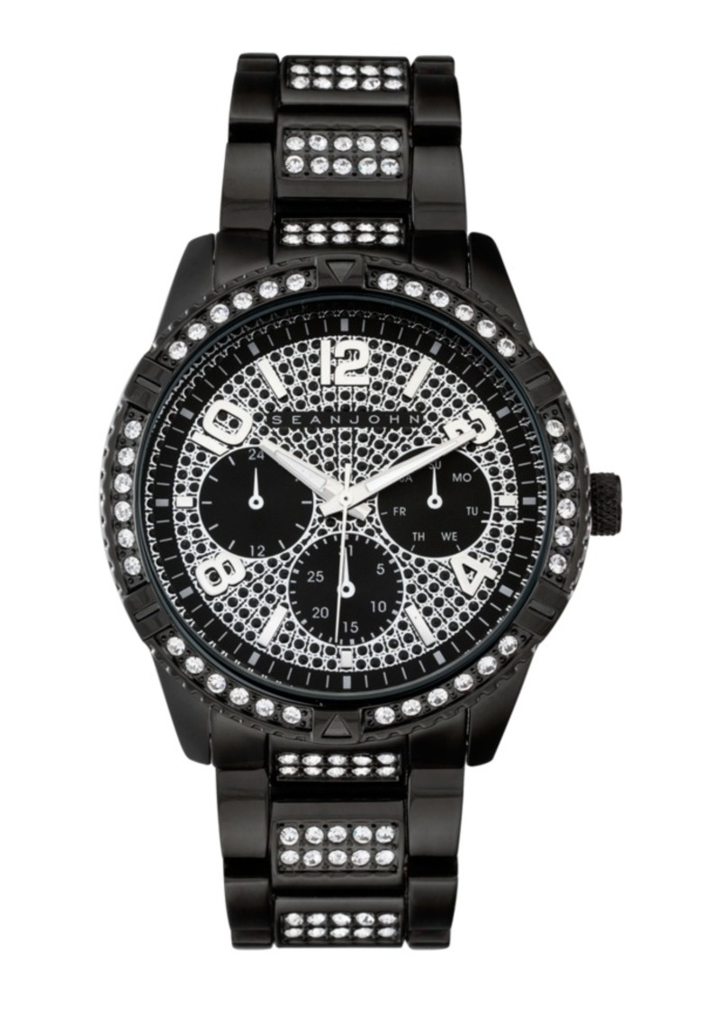 Sean John Men's Dress Sport 3 Hands Black Base Metal Bracelet Watch 46mm