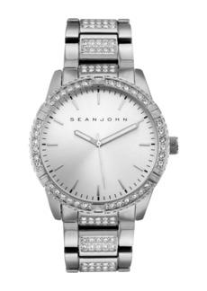 Sean John Men's Dress Sport 3 Hands Silver-tone Base Metal Bracelet Watch 46mm