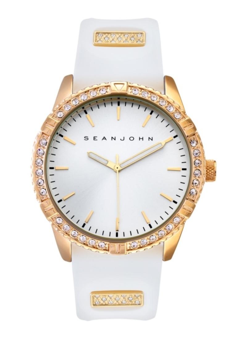 Sean John Men's Dress Sport 3 Hands White Silicon Strap Watch 46mm