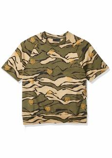 Sean John Men's Embrodiered Short Sleeve Sweatshirt Tiger camo M