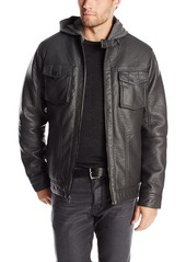 Sean John Men's Faux Leather Four-Pocket Racer Jacket with Hoodie