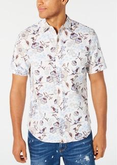 Sean John Men's Floral Print Short Sleeve Shirt