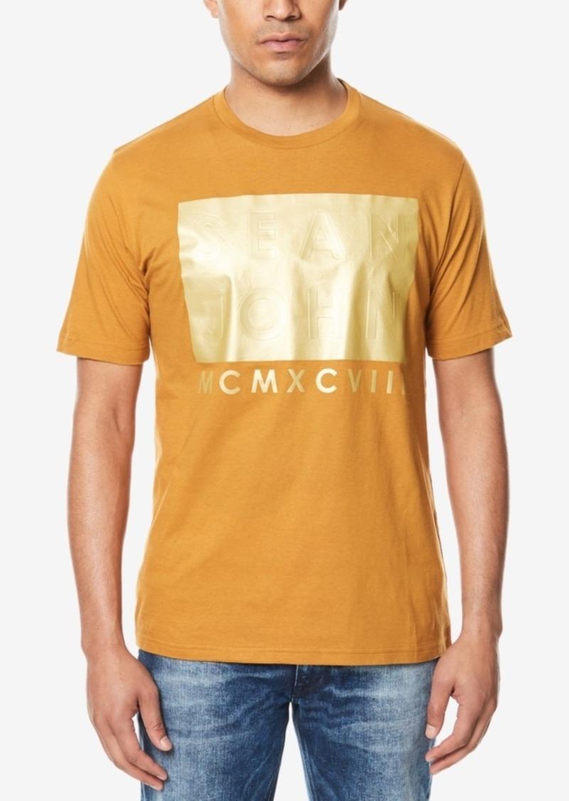 Sean John Sean John Mens Big Tall Gold Block Print T Shirt T Shirts