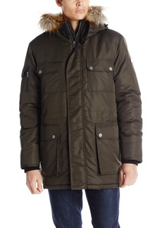 Sean John Men's Hooded Parka with Faux Fur Trim