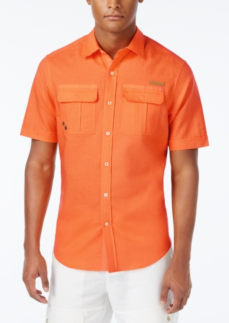 Sean John Men's Lightweight Linen Short-Sleeve Shirt with Pockets