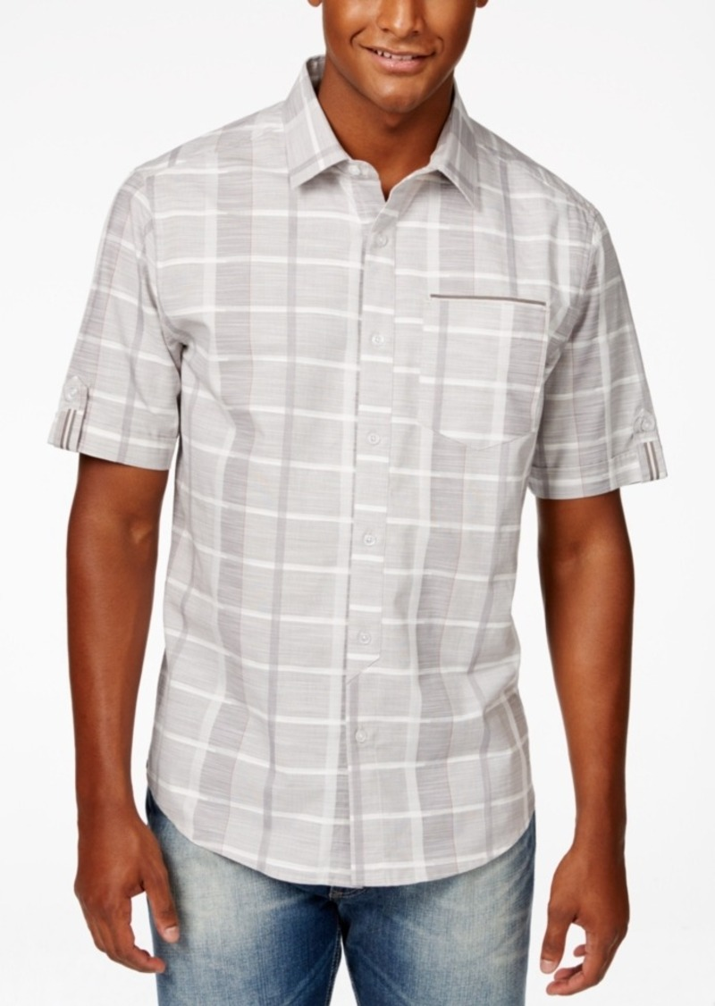 Sean John Men's Linear Textured Plaid Short-Sleeve Shirt