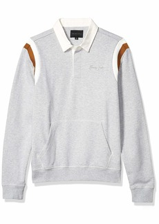 Sean John Men's Long Sleeve Collared Crew Neck Rugby Sweatshirt