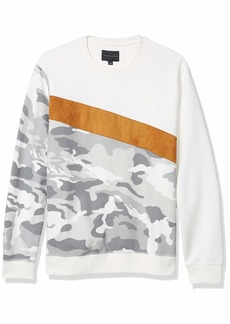 Sean John Men's Long Sleeve Crew Neck Camo Blocked Sweatshirt sj Cream S