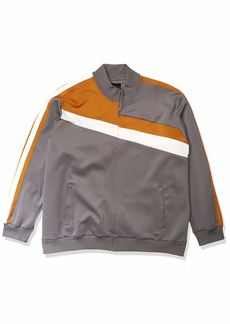 Sean John Men's Long Sleeve Full Zip Color Blocked Faux Suede Track Jacket  L