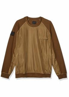 Sean John Men's Nylon Front Long Sleeve Crew Neck Sweatshirt  L