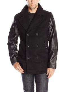 Sean John Men's Peacoat with Faux Leather Sleeves