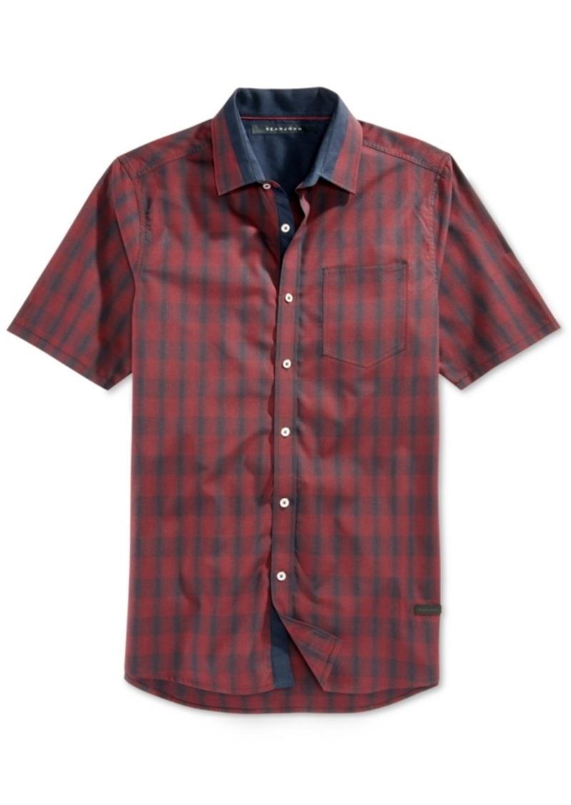 Sean John Men's Plaid Contrast-Trim Short-Sleeve Shirt