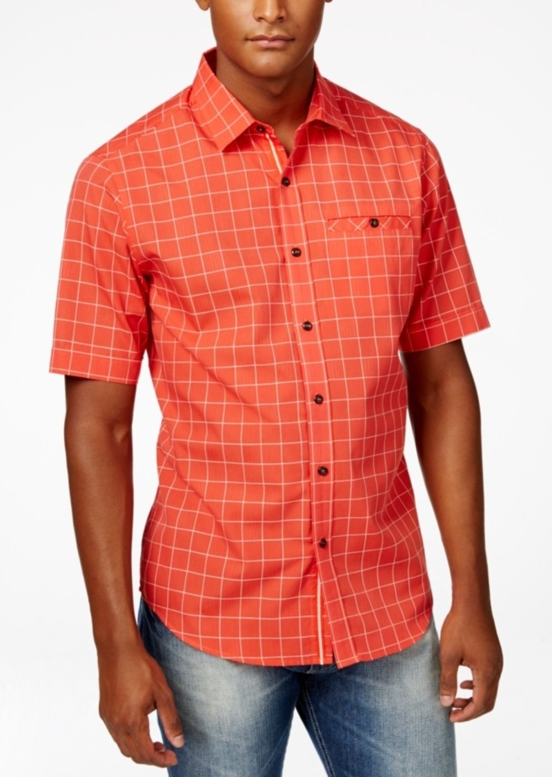 Sean John Men's Big & Tall Dobby Check Short-Sleeve Shirt