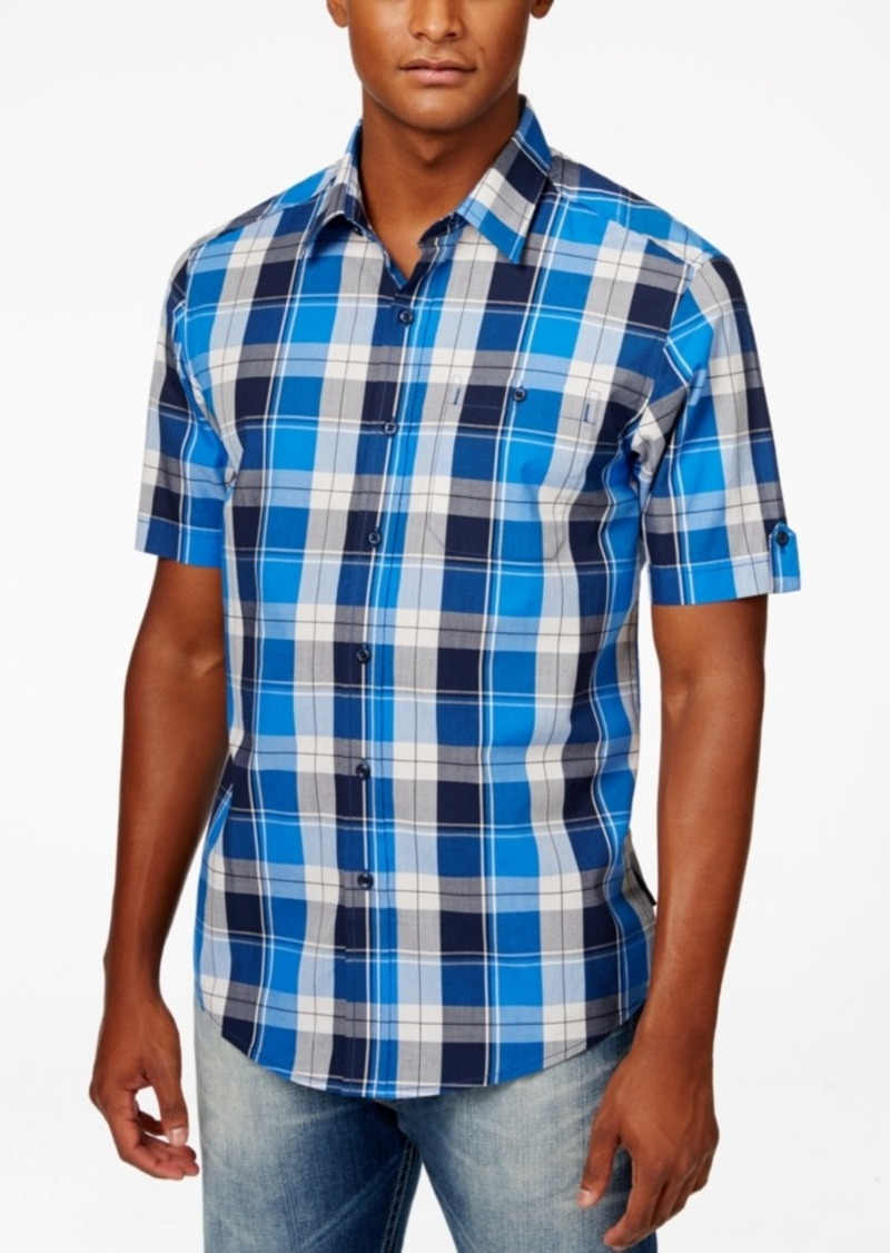 Sean John Men's Plaid Satin Short-Sleeve Shirt
