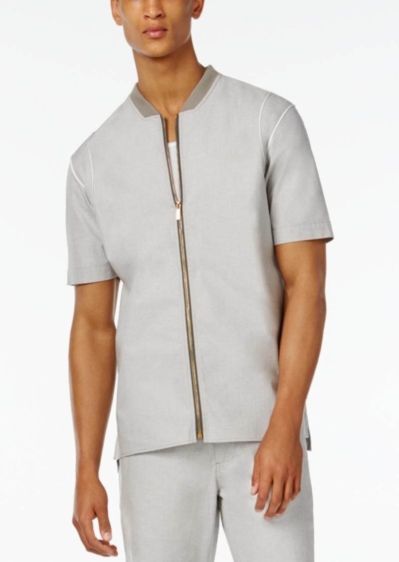 Sean John Men's Retroactive Zip-Front Short-Sleeve Shirt