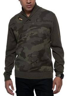 Sean John Men's Shawl-Collar Camo Sweater
