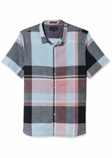 Sean John Men's Short Sleeve Button Up Large Scale Plaid Shirt  4XL