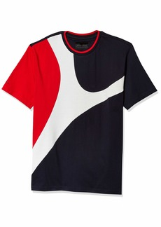 Sean John Men's Short Sleeve Crew Neck Curved Color Blocked Tee  3XL