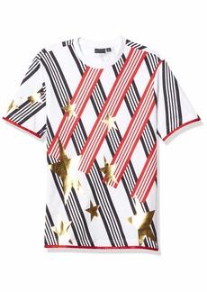 Sean John Men's Short Sleeve Crew Neck Stars and Stripes Tee Shirt  XL